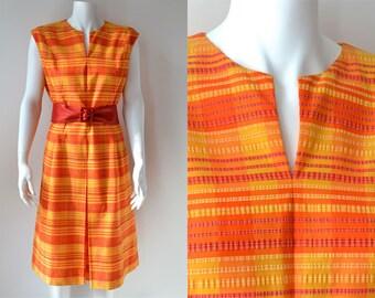 60s orange plisse travel dress by Mancini California Size Large XL 14 16 vintage sun summer day holiday seersucker