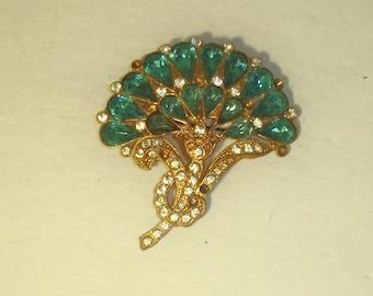 Vintage Art Deco Aquamarine & White Rhinestone Floral Bouquet Gold Plated Pin Brooch 4 repair or Repurpose