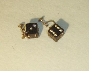 Vintage Black Bakelite & rhinestone Dangle Silvertone Pair of Dice Earrings
