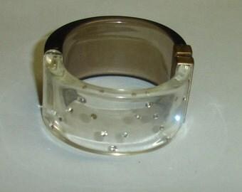 Vintage Smoke & Clear Lucite Rhinestone Clamper Bracelet 4 Repair or Repurpose