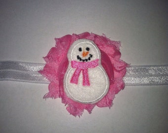 Winter snowman headbands, gurst christmas baby, headbands-headbands,baby girl headbands, pink headbands, pink rose with snowman