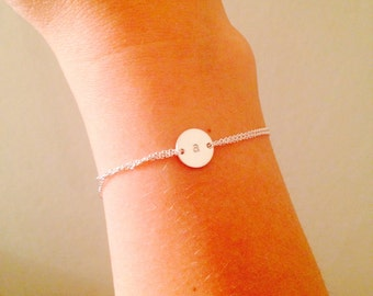 Monogram bracelet, bridesmaid gift -Personalized bracelet,  Sterling silver, sister, mothers gift, handstamped disc, silver