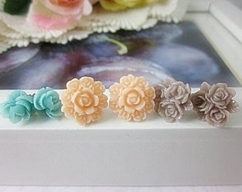 Set of 3 Flower Stud Earrings. Wood Brown, Pale Pink, Seafoam flowers. Gift for her.