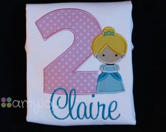 Cinderella Cutie Princess Birthday Toddler Tee Shirt - ANY AGE