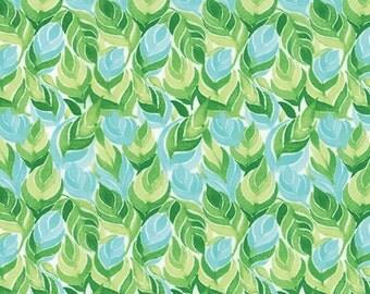 Fleurologie - Leaves Feathers in Aquamarine by Stephanie Ryan for Moda Fabrics - Last Yard