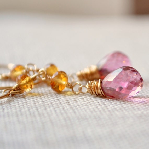 Long Gemstone Earrings, Statement, Dangle, Golden Yellow Citrine, Mystic Pink Quartz, Wire Wrapped, Gold Jewelry, Free Shipping