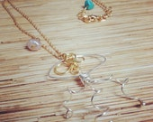 Silver and Gold Wire Jellyfish Necklace