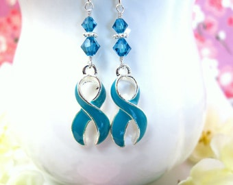 Cervical Cancer Teal Ribbon Swarovski Crystal Bicone Bead Dangle Earrings - Teal Blue Cervical Cancer Survivor Dangle Earrings