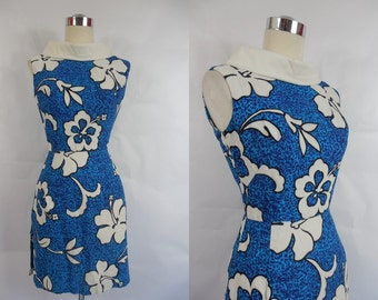 1960's Vintage Blue and White Hilo Hattie Hawaiian Tiki Mod Hibiscus Mini Dress