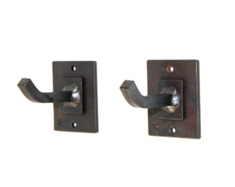 SET OF 2 Hand Forged Iron Contemporary Robe Hooks by VinTin