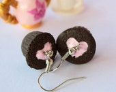 Valentine's day Shabby chic chocolate with strawberry filling heart cupcake earrings