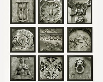 Cemetery Collection 2 - Nine 8x8 Photos - Dark Gothic Stone Monument Graveyard Black White Headstones Eternity Instant Collection Wall Art