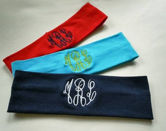 MONOGRAMMED Headband FULLY CUSTOMIZABLE in your wedding colors perfect for bridesmaids gift