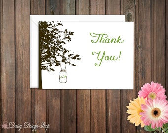 Thank You Cards - Mason Jar Hanging from a Tree Silhouette - Set of 10 with Envelopes