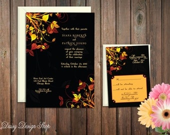 Wedding Invitation - Autumn Leaves in Deep Brown, Orange, and Yellow - Invitation and RSVP Card with Envelopes