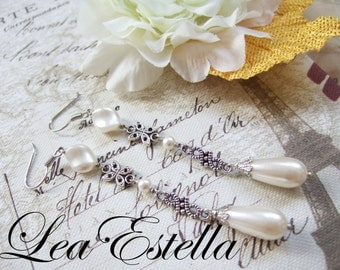 Ethereal Swarovski Pearl Cream White Antique Silver Floral Bridal Earrings - Vintage Charm