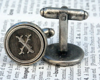 Custom Initial Letter Cufflinks Cuff Links Wedding Personalized Gift Typewriter Key Groomsman Antiqued Silver