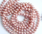 5-6mm  Rose pink freashwater potato pearls, golden pink pearl  , FULL STRAND