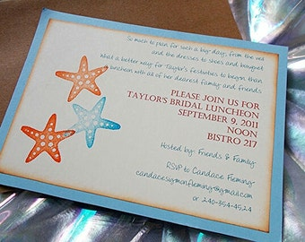 Blue Starfish Beach Themed Bridal Shower Invitation, Wedding Invitations, Bridal Shower Luncheon -  (Sample set No.114.1)