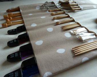Pale Brown Polka Dot Knitting Roll