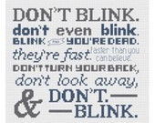 Don't Blink. Doctor Who Quote cross stitch pattern .pdf weeping angels chart instant download