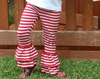red and white stripe knit leggings with double ruffles sizes 12m - 8 girls Christmas