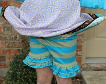 SALE turquoise blue and green striped ruffle shorts shorties bloomers sizes 12m - 12 girls