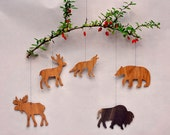 Woodland Animal Ornaments Decorative Wooden Mobiles Party Favors Nametags Christmas Tree Decorations Wilderness Animals Home Craft Projects