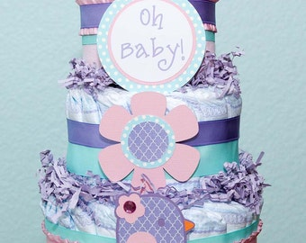 Chick Diaper Cake- Customize to fit your theme and colors - Yellow grey chevron- chick - bird