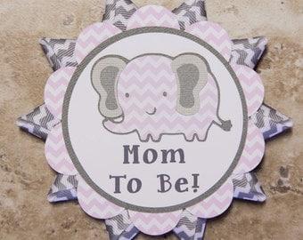 Elephant themed button pin- chevron