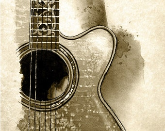 Acoustic Guitar - weathered print