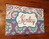 large personalized nursery art- Hand-painted -  Inspired by Brooklyn bedding- purple lavender teal aqua paisleys