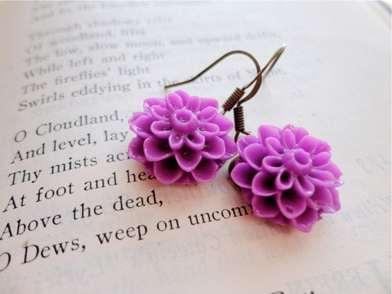 Radiant Orchid magenta mum / chrysanthemum flower cabochon earrings, How Does Your Garden Grow