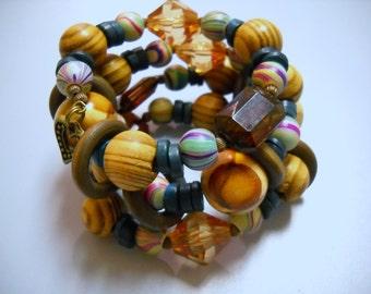 Big and Chunky Boho Wood Beaded Memory Wire Bracelet