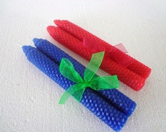 Blue and Red Beeswax Tapers
