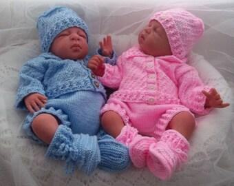 Baby Knitting Pattern Boys -Girls - Reborn Dolls - Newborn to 3 Months -Sweater Set - Download PDF Knitting Pattern