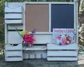 Large 3 Pocket Family Message Center---Framed Chalk Board=== CorkBoard--Kitchen Decor--Message Board