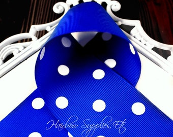 Electric Blue 2-1/4 inch Polka Dot Grosgrain Ribbon - Choose 1 or more yards - Hairbow Supplies, Etc.