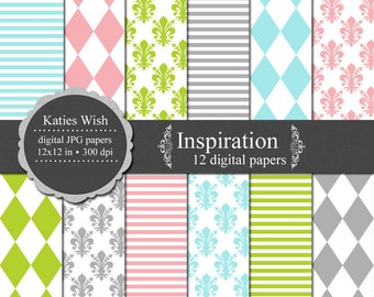 Inspiration Digital Paper Kit  12x12 inch jpg files Commercial Use