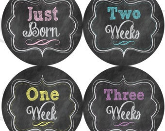 Faux Chalkboard Monthly Stickers - Girl Chalkboard Stickers - Just Born to 3 Weeks - Baby Gift - Milestone Stickers - Chalkboard Stickers