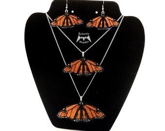 Elegant Orange Butterfly Earrings and Pendants Super Set