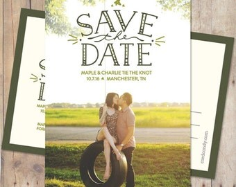 Save-The-Date - Vintage Wedding Save The Date Card or Magnet - Handiwork