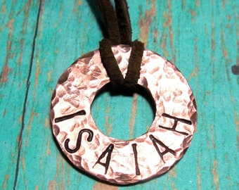 Boy's Necklace - Stamped Copper Washer and Leather - Large