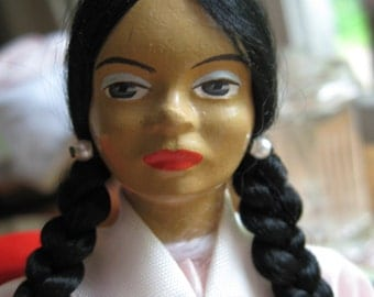 Composite Doll ETHNIC 1940s Spanish Italian  Pink Satin Dress Painted Face