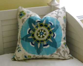 Silsila in Poolside Indoor Outdoor Designer Pillow Cover - Square and Euro Sizes