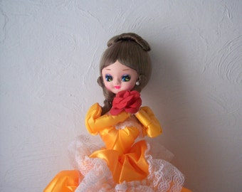 vintage bradley pose doll big eyed doll 1960s mid century satin and lace dress