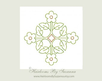 Machine Embroidery Redwork Colorwork Design - Square Antique Motif - Machine Quilt Embroidery - 3 Sizes - Square Motif No.5