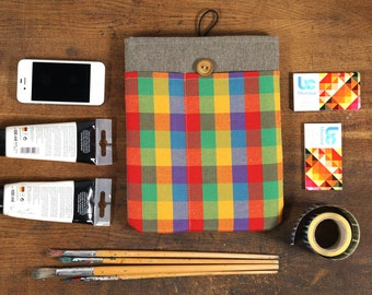 60% OFF SALE Dark Linen iPad Case with colorful squares print pocket. Padded Cover for iPad 1 2 3 4. iPad Sleeve Bag.