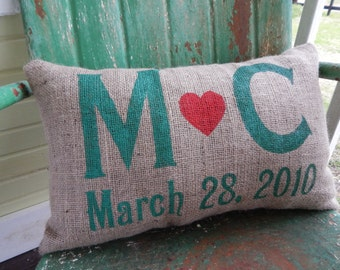 Wedding Anniversary Gift Love Initials and Date Burlap Decorative Pillow Custom Colors Available Wedding Anniversary Gift Home Decor