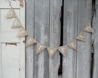 CUSTOM LENGTH Burlap Bunting Banner Wedding Baby Shower Party Decor Photo Prop